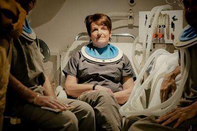 Janice Maclean in the NSHA Hyperbaric Chamber