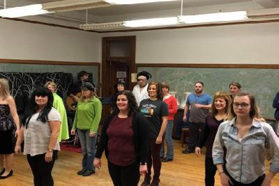 Central Zone Players rehearse for It's a Central Noxious Family Christmas