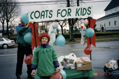 Trevor Quinlan and his dad during their first coat drive in 1998