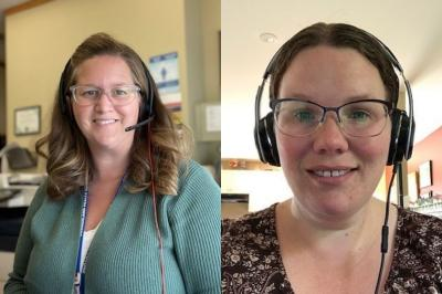 Lindsay Goldrich Sharpe, left, and Louise Hopper were members of the COVID Questions Team.