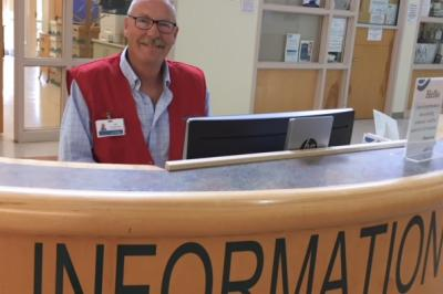 NSHA volunteer Jim Swetland serves as information desk host at Cumberland Regional Health Care Centre (Contributed).