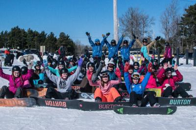 Girls on SnowBoards participants at Ski Martock.