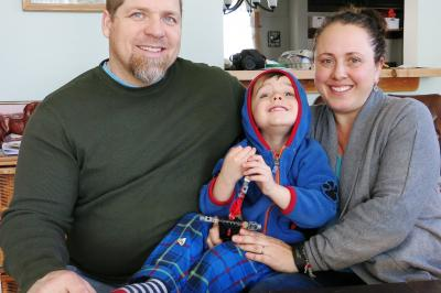 John, Ezra and Lisa Andrews are grateful for care close to home.