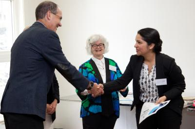 Nisha Waqas, an international medical graduate, receiving her MicroResearch NS Certificate of Completion from David Anderson, Dean of the Dalhousie Faculty of Medicine with Dr. Noni MacDonald, Co-Founder MicroResearch International.