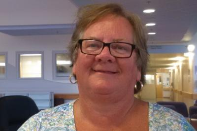 Retiree Nancy Winchester volunteers at Yarmouth Regional Hospital's information desk (Submitted).