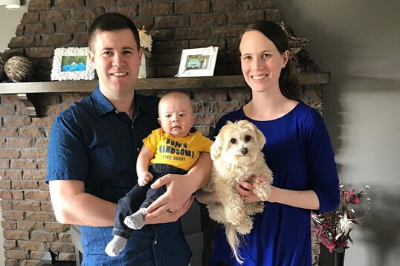 Patient family advisor, Nick Burke with his son Samuel, wife Katherine and dog Molly.