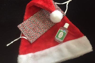 Santa hat, mask sanitizer