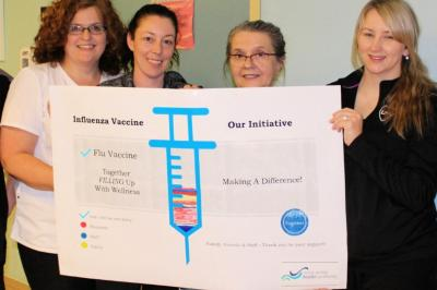 Patient Safety champions: Tracey Coombes (left) and members of the Glace Bay Hospital 4 North team.