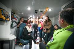 Inside an EHS ambulance during a career education day.