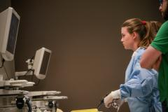 Michaela Ferguson practicing her surgical skills in the Skills Lab at the VG site of the QEII